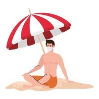 uomo in pantaloncini con mascherina medica, turismo con coronavirus, prevenzione covid 19 durante le vacanze estive vettore