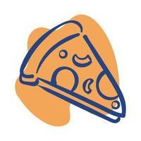 icona di stile linea fetta di pizza vettore