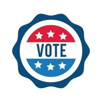 votare scritte sull'icona di stile piatto timbro usa