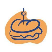 icona di stile linea di panino fast food vettore