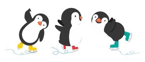 pinguino felice con set di cartoni animati di pattini da ghiaccio vettore
