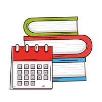simbolo della scuola, promemoria del calendario in una pila di libri di letteratura