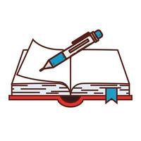 scuola di fornitura notebook con penna su sfondo bianco vettore