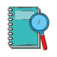 simbolo della scuola, fornitura notebook con lente di ingrandimento vettore