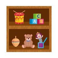 giocattoli bambino in scaffalature in legno vettore