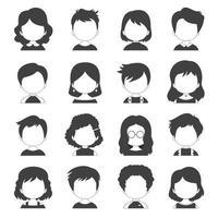 collezione di avatar faccia in bianco e nero vettore