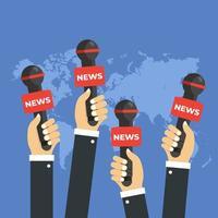 mani di notizie giornalista con microfoni vettore