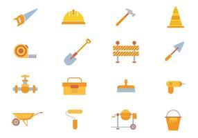 vettore di attrezzature per l'edilizia, set di strumenti, casco di sicurezza, sega, martello, macchina per il cemento.