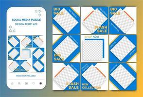 modello di puzzle quadrato post sui social media vettore