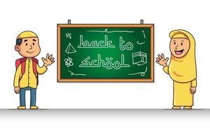 personaggio dei cartoni animati di studente musulmano restituisce al saluto scolastico vettore