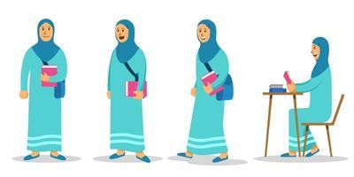 set di caratteri piatti studentessa universitaria musulmana ragazza vettore