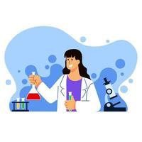 illustrazione del personaggio di scienziato di biologia femminile vettore