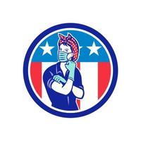 donna che flette e indossa la maschera emblema della mascotte della bandiera degli Stati Uniti