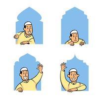 maschio musulmano personaggio dei cartoni animati comico che fa capolino nella finestra della moschea vettore