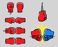 raccolta della mano del fumetto di guantoni da boxe vettore