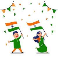 due persone che sventolano bandiere celebrano il giorno della repubblica indiana vettore