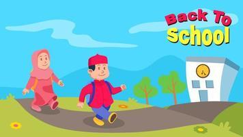 bambini musulmani torna a scuola saluto illustrazione vettore