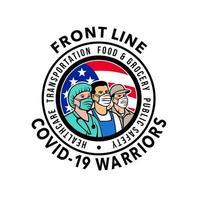 emblema dei guerrieri covid-19 della prima linea americana vettore