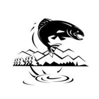 pesce trota che salta nel lago con alberi e montagne design retrò in bianco e nero