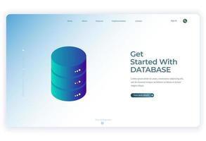 illustrazione del database isometrico per lo sfondo della pagina di destinazione
