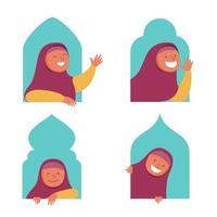 carattere piatto ragazza musulmana che fa capolino dalla finestra vettore