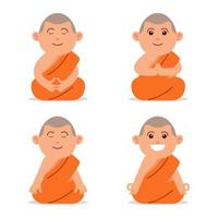 meditando personaggio piatto monaco buddista vettore