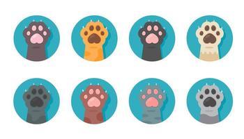 zampa di gatto imposta diverse specie simpatico gattino mano disegni isolati dallo sfondo. vettore