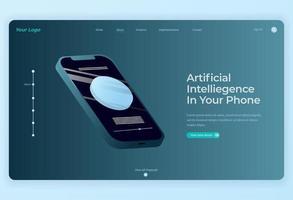 design isometrico della tecnologia smartphone per lo sfondo della pagina di destinazione