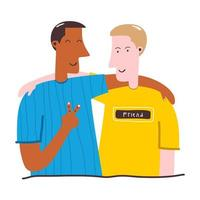 due uomini adolescenti si abbracciano personaggi dei cartoni animati su uno sfondo bianco. giovani eccitati e sorridenti, impiegati, colleghi, fratelli. concetto di amicizia. illustrazione vettoriale piatta