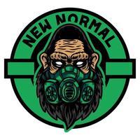 testa di gorilla o scimmia usa una maschera verde con un nuovo titolo normale vettore