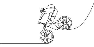 continua una linea giovane ciclista uomo in un casco esegue un trucco in bicicletta. vettore