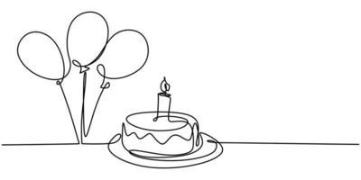disegno a tratteggio continuo della torta di compleanno. una torta con crema dolce e candela.