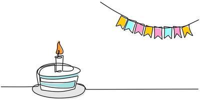 disegno a tratteggio continuo della torta di compleanno. una torta con crema dolce e candela. vettore