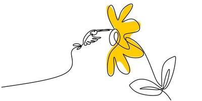 disegno continuo di una linea di disegno minimalista colibrì. uccello in volo sui fiori isolati su sfondo bianco. vettore
