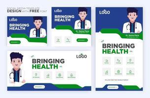 modello di post sanitario. banner web quadrato di promozione medica. layout di newsletter di posta. post sanitario sui social media. vettore