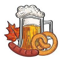 Oktoberfest bicchiere di birra con disegno vettoriale pretzel e salsiccia