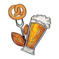 Oktoberfest bicchiere di birra con pretzel su disegno vettoriale forcella