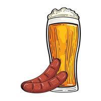 Oktoberfest bicchiere da birra con disegno vettoriale di salsicce