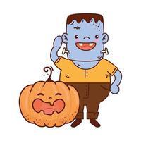 ragazzo travestito da Frankenstein con la zucca per la felice festa di Halloween