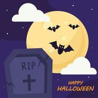 felice halloween con disegno vettoriale tomba e pipistrelli