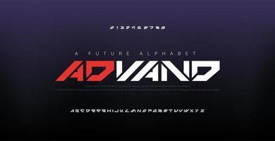 font alfabeto moderno digitale astratto vettore