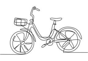 un disegno a tratteggio o arte linea continua di illustrazione vettoriale bicicletta.