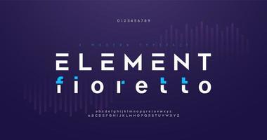 set di caratteri alfabeto moderno digitale astratto vettore