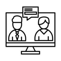 uomini di colleghi nel computer con disegno vettoriale di bolla linea stile icona