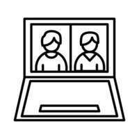 uomini di colleghi nella progettazione di vettore dell'icona di stile della linea del computer portatile