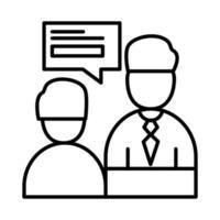 uomini di colleghi con disegno vettoriale di bolla linea stile icona