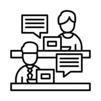 colleghi uomini con laptop e bolle di stile della linea icona disegno vettoriale