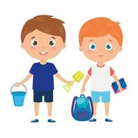 simpatici ragazzini con borsa da scuola e giocattoli
