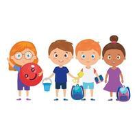 gruppo di bambini piccoli con borsa da scuola e giocattoli