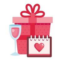 confezione regalo con calendario e coppa di vino vettore